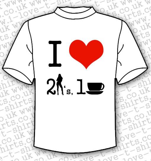 I Love 2 Girls 1 Cup T-shirt 1