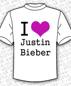 I Love Justin Bieber T-shirt With Purple Heart
