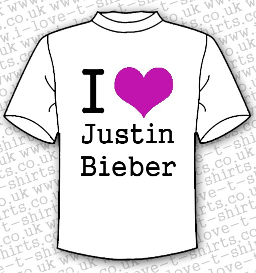 I Love Justin Bieber T-shirt With Purple Heart 1